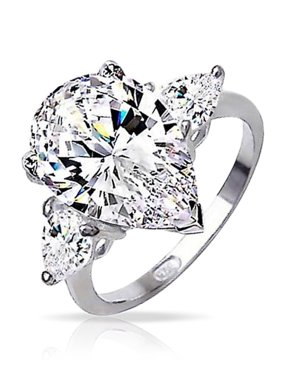 7.00 CTW 925 Sterling Silver Classic 3 Stone Pear Cut CZ Engagement Ring