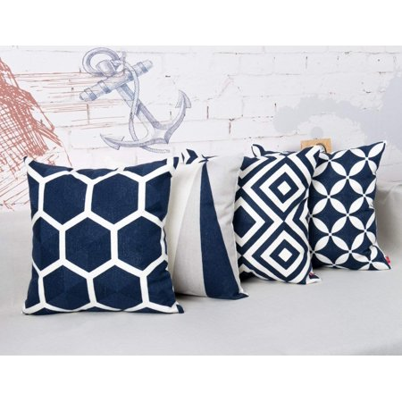 Silk Embroidery Pillow Cushion Cover (Tayyakoushi Cotton Decor Throw Pillow Case Embroidery Geometric Design Pattern Cushion Covers Navy Blue 4PCS ,Throw Pillow Case for Home Gardern Chair Decoration)