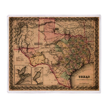 CafePress - 1855 Map Of Texas - Soft Fleece Throw Blanket, 50