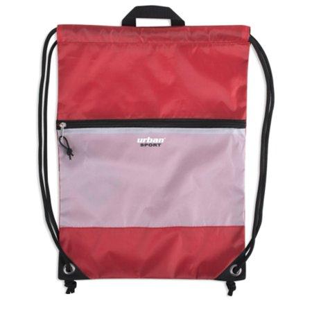 Urban Sport Unisex Red Front Zip Pocket Drawstring Backpack 18