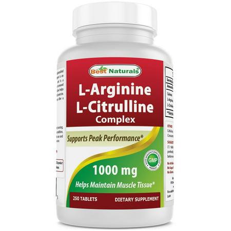 Best Naturals L-Arginine L-Citrulline Complex 1000 mg 250 (Best Natural Detox For Thc)