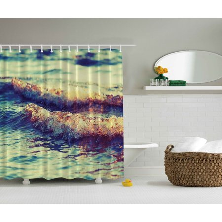 Teal Decor Sea Ocean Waves Nautical Navy Turquoise Shower