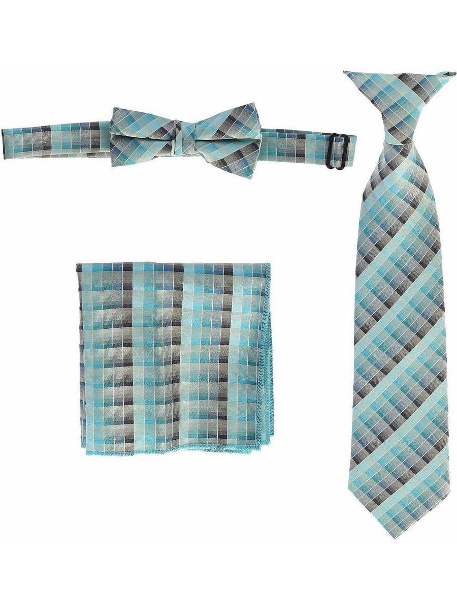Boys Mint Plaid Striped Tie Bow Tie Pocket Square 3 Pc Accessory Set