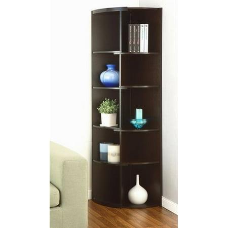 Furniture Of America Shifter Decorative Modern Expandable Black Cucino Tall Corner 5 Shelf Bookcase Or Media Storage Display Stand