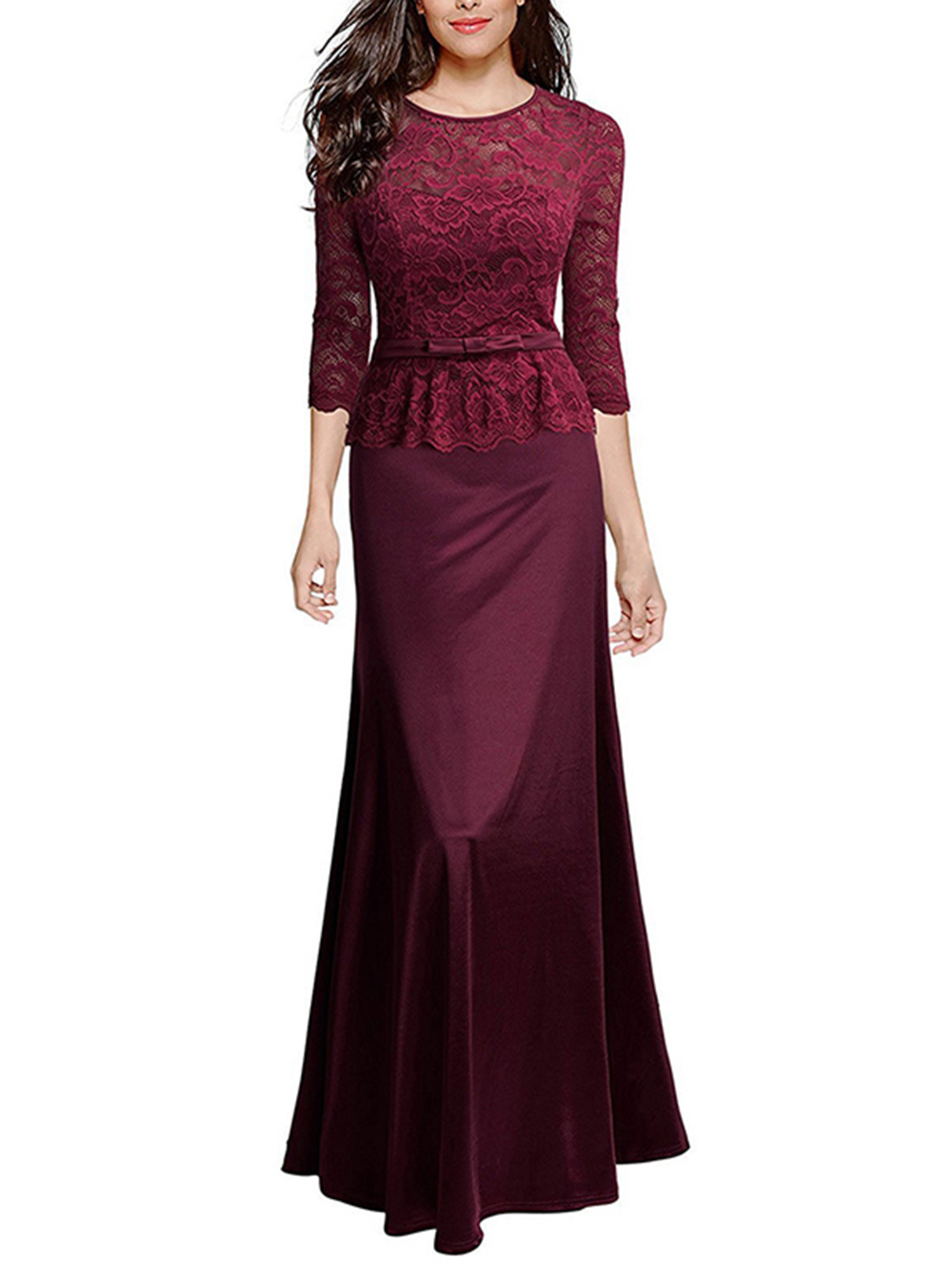 Women Lace Maxi Formal Dress Prom Bridesmaid Wedding Evening Party Cocktail Gown
