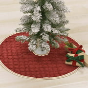 """Cherry Red Traditional Christmas Decor Reese Cotton Ruffling Textured Solid Color 21"""" Diameter Tree Skirt"""