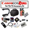 Deluxe Accessory Kit for Canon EOS Rebel T2i T3i T4i with Opteka Microfiber Deluxe Photo / Video Camera Gadget Bag, Opteka X-Grip Handle, 16GB SDHC High Speed Memory Card and More! This Kit includes the following items :Opteka High Definition II Professional 5 Piece Filter Kit (UV, CPL, FL, ND4 and 10x Macro Lens)Opteka LP-E8 2000mAh Ultra High Capacity Li-ion Battery Pack for Canon Digital Rebel T2i, T3i & T4i Digital SLR CamerasOpteka X-GRIP Professional Camera / Camcorder Action Stabilizing Handle with Accessory Shoe for Flash, Mic, or Video LightOpteka Microfiber Deluxe Photo/Video Camera Gadget Bag for Digital Cameras & CamcordersOpteka 16 GB Class 10 SDHC Secure Digital Memory CardUSB 2.0 SD/MMC Card Reader for PC and MacOpteka RC-4 Wireless Remote Control for Canon EOS Digital Rebel XT, XTi, XSi, T1i, T2i, T3i, T4i, 60D, 7D & 5D Mark II/III Digital SLR CamerasOpteka 6 Foot Regular to Mini HDMI 1080p Cable1x Hot Shoe Bubble LevelOpteka Digital Camera / Camcorder Lens Cleaning Kit, Tabletop Tripod, & LCD Screen Protectors47st.Photo Deluxe Microfiber Cleaning Cloth