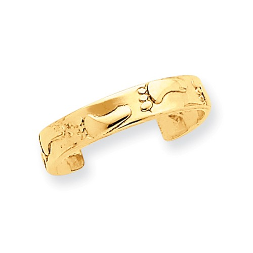 14k yellow gold footprints toe ring walmart