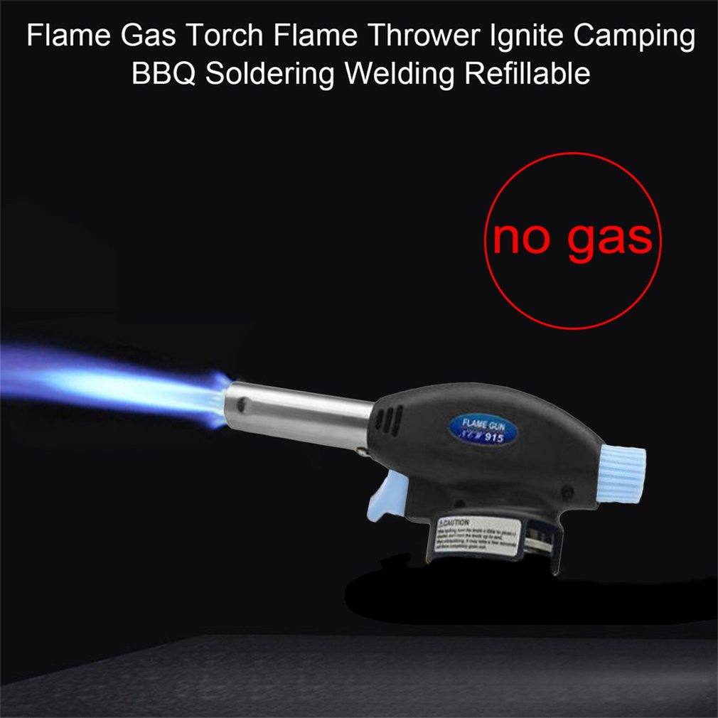 Flame Gas Torch Flame Thrower Ignite Camping BBQ Soldering Welding Refillable,Dark blue