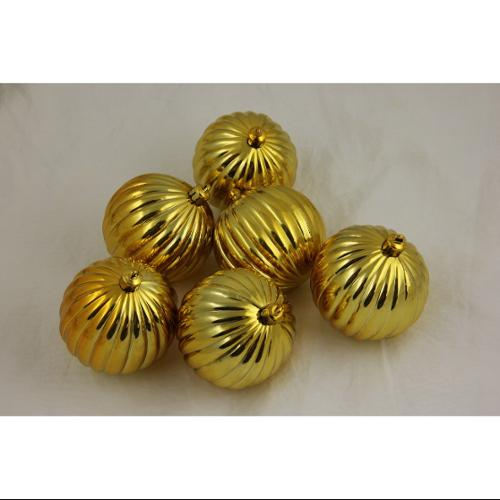 Pack of 6 Gold Shatterproof Ribbed Christmas Ball Ornaments 2.5""