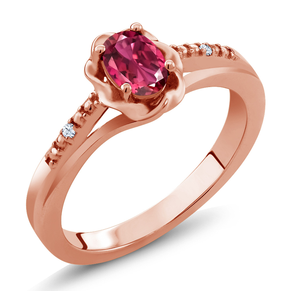 0.52 Ct Oval Pink Tourmaline White Topaz 18K Rose Gold Ring by