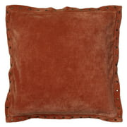 "Rizzy Home Velvet With Antique Brass Metal Studs On Flange Decorative Throw Pillow, 18"" x 18"", Orange"