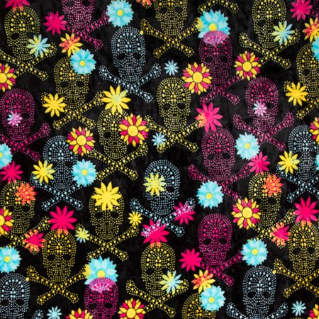 Skull Black Print Ultra Plush Fleece Fabric Roll - Skull Staff