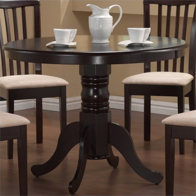 Click here to buy Bowery Hill Round Single Pedestal Dining Table in Cappucino by Bowery Hill.