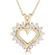 1/2 Carat Genuine Diamond Heart Pendant 14K Yellow Gold 18mm Tall