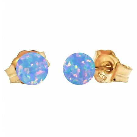 Carrie: 4mm Cornflower Blue Synthetic Opal Ball Stud Post Earrings 14K Yellow Gold Strand Tourmaline Earrings
