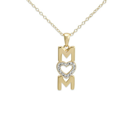 "Crystal 18kt Gold over Sterling Silver ""Mom"" Pendant Heart, 18"""