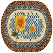 "Earth Rugs 65-394HS Heirloom Sunflower Oval Design Rug, 20 by 30"", Braided, Orange/Blue/Natural"