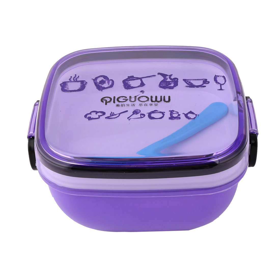 Home Kitchen Travel Plastic Square Shaped Food Container Lunch Box Case Purple