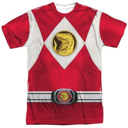 Power Rangers Men's  Red Ranger Emblem Sublimation T-shirt White (Power Rangers Suits)