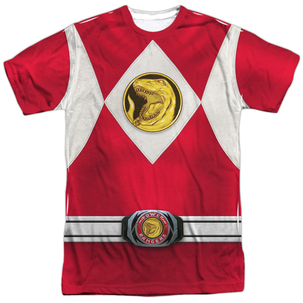 Power Rangers Men's  Red Ranger Emblem Sublimation T-shirt White