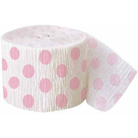 (2 Pack) 30' Crepe Paper Light Pink Polka Dot Streamers](Polka Dot Streamers)