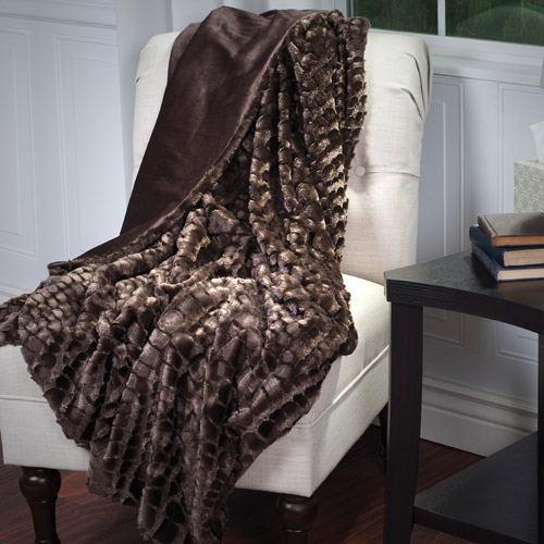 Somerset Home Plush Croc Embossed Faux Fur Mink Throw