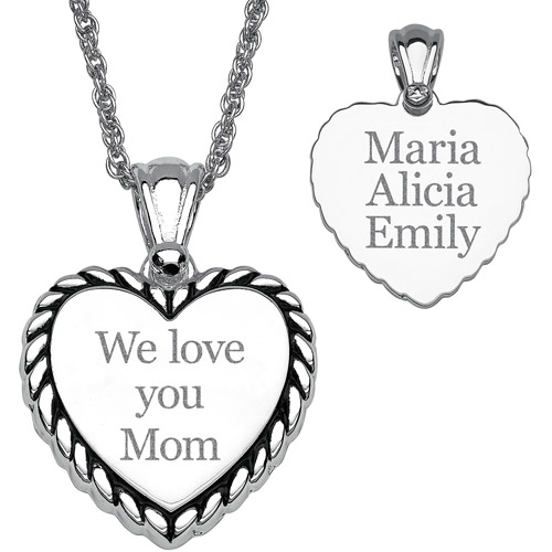 "Personalized Women's Silver-Tone ""We love you Mom"" Rope Framed Heart Pendant"