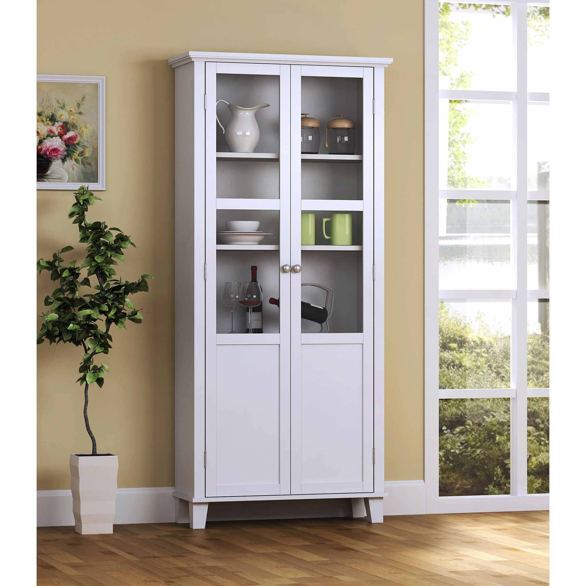 Poppy Display Cabinet with Glass Door Walmart