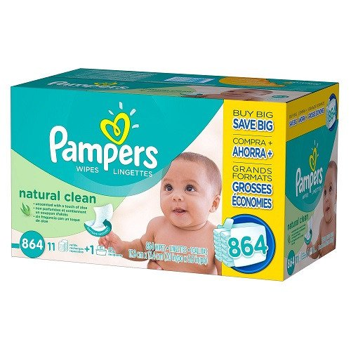 Pampers Natural Clean Baby Wipes 864 ct. by Pampers