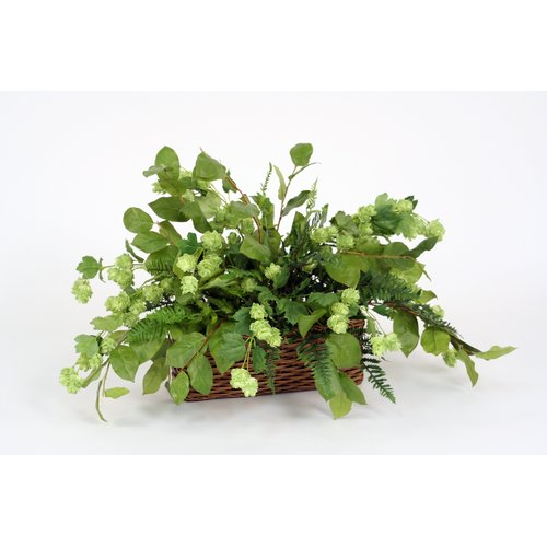 Distinctive Designs Silk Hops Marsh Fern And Lemon Leaf Floor Plant