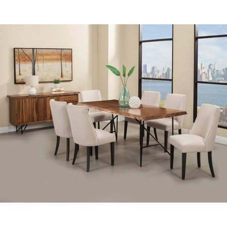 Alpine Furniture Live Edge Upholstered Parson Chairs - Set of