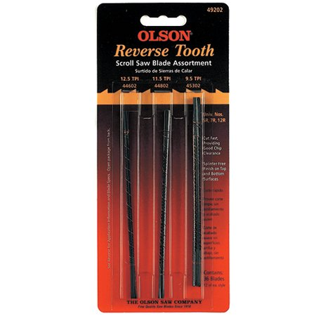 Tooth Scroll Saw Blades (Olson Saw FR49202 Reversed Tooth Scroll Blade Assortment,)