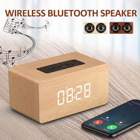 2 In1 Wireless Wooden Speaker Double-side Alarm Clock Subwoofer Hi-Fi Music Player FM Radio TF/USB Stereo Hands-free