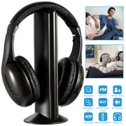 Wireless Headsets Over-Ear, HiFi 5-in-1 Wireless Multi-Functional Headphones w/Microphone Emitter & FM Radio,MP3 - Listen to Music, Chat Online, Monitor Other Rooms, PC TV,Mobile Phones - Black