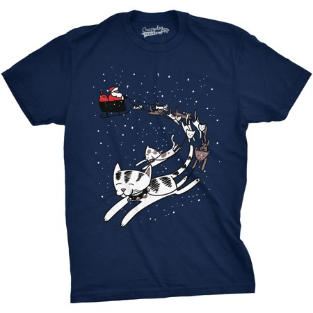 Mens Cat Sleigh Tshirt Funny Santa Christmas Holiday Tee For Animal Lover for $<!---->