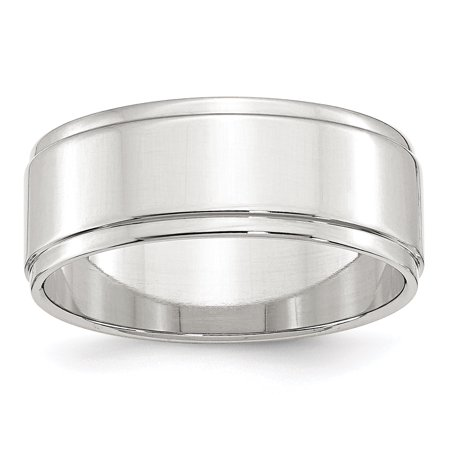 .925 Sterling Silver 8 MM Flat with Step Edge Wedding Band Ring, Size 9