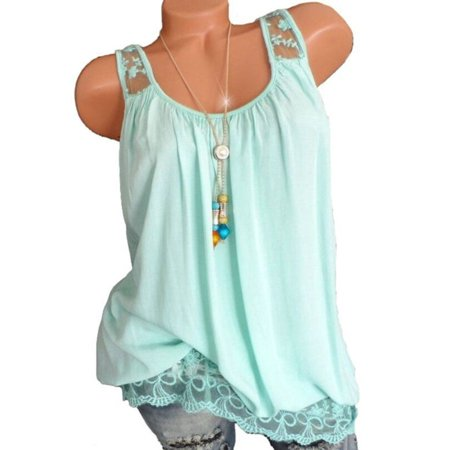 05914cb50baee2 Plus Women Summer Vest Top Sleeveless Blouse Casual Tank Tops T-Shirt -  Walmart.com