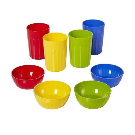 Arrow Reusable Plastic Bowl & Tumblers Combo Set - BPA Free, Dishwasher Safe, & Stackable - Great for Children, Toddlers, Kids for Everyday Meal Time, (4) 10oz Cups & (4) - Mystery Bowls For Halloween