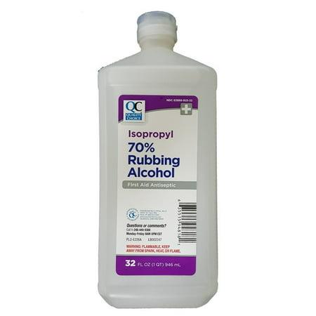 2 Pack Quality Choice 70% Isopropyl Rubbing Alcohol Liquid Bottle 32oz Each