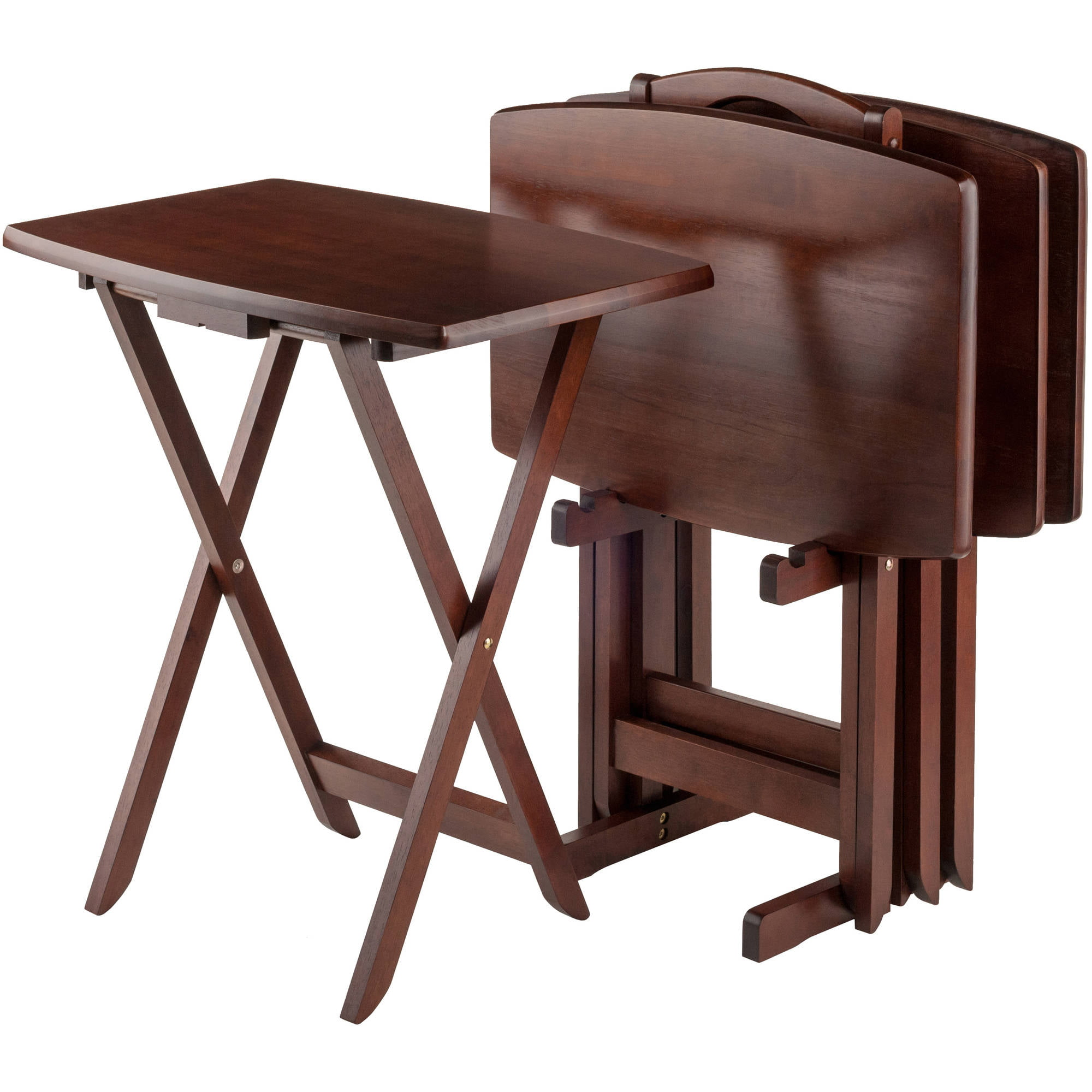 sc 1 st  Walmart.com & Linon Gray Acacia Tray Table Set 4 Tray Tables plus Stand - Walmart.com