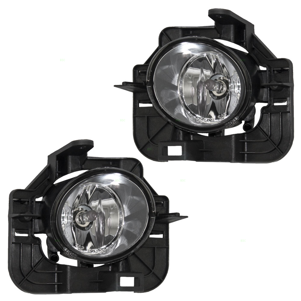 Driver and Passenger Fog Lights Lamps with Brackets Replacement for Nissan 26155-9B91B 26150-9B91B