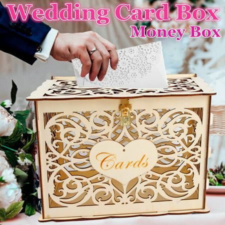 Wedding Card Box, DIY Gift Card Boxes with Lock and Card Sign Wooden Hollow Wedding Money Box Holder for Reception Weddings Baby Showers Birthdays Graduations Party Decorations
