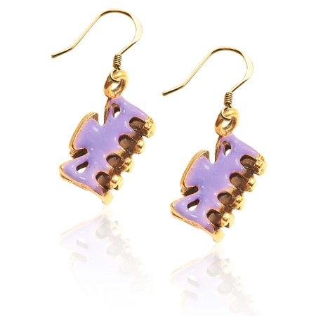 Hair Clip Charm Earrings in Gold