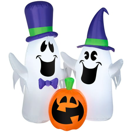 Halloween Airblown Inflatable 5ft. Ghosts and Pumpkin Scene by Gemmy Industries (Halloween 5 Little Pumpkins)