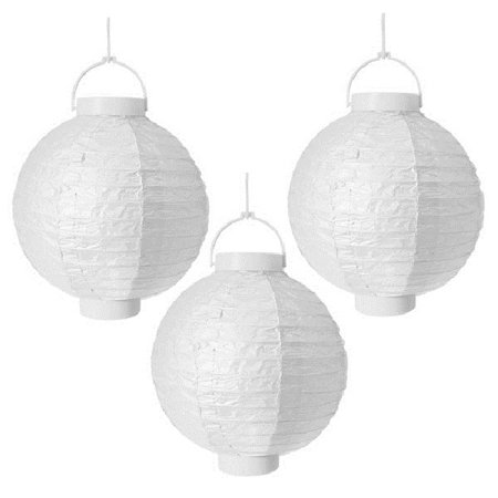 Battery Operated Paper Halloween Lanterns (Pack of 3 Lighted Battery Operated White Garden Patio Chinese Paper Lanterns)
