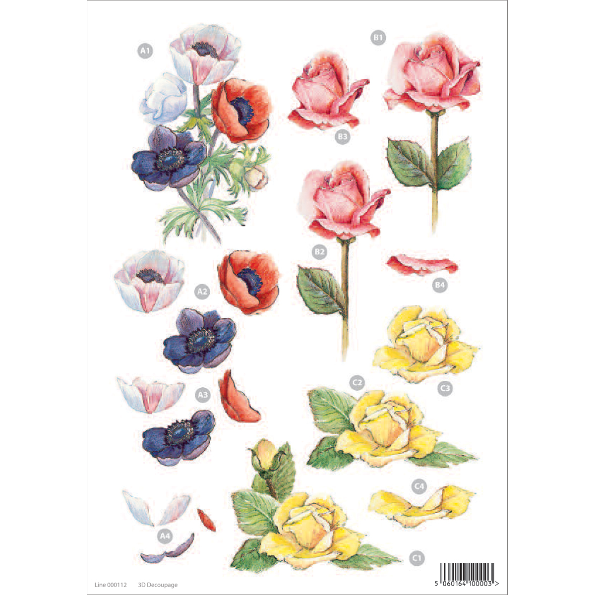 3-D Die-Cut Decoupage Sheet-Floral