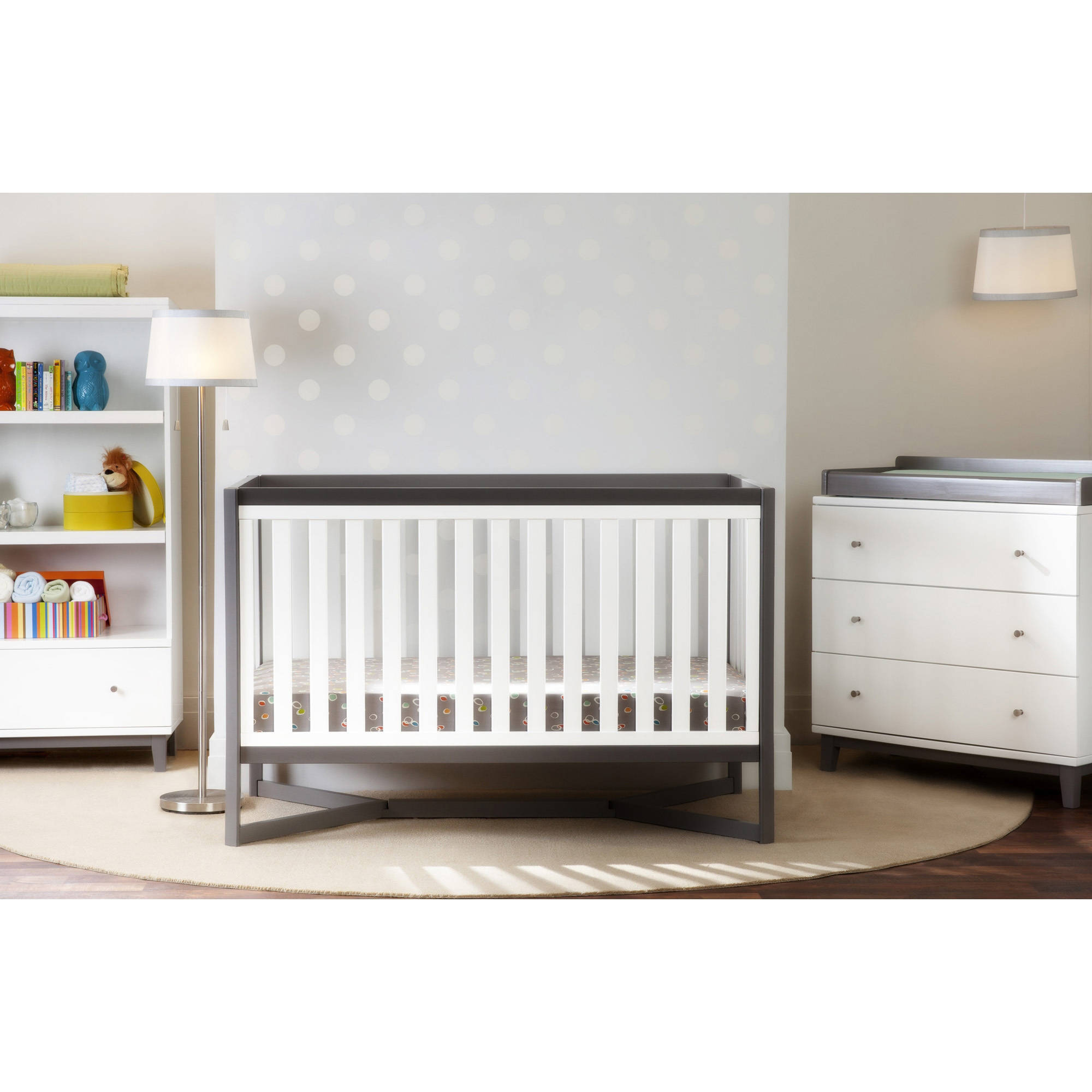 Delta Children Tribeca 4-in-1 Convertible Fixed-Side Crib, White with Gray
