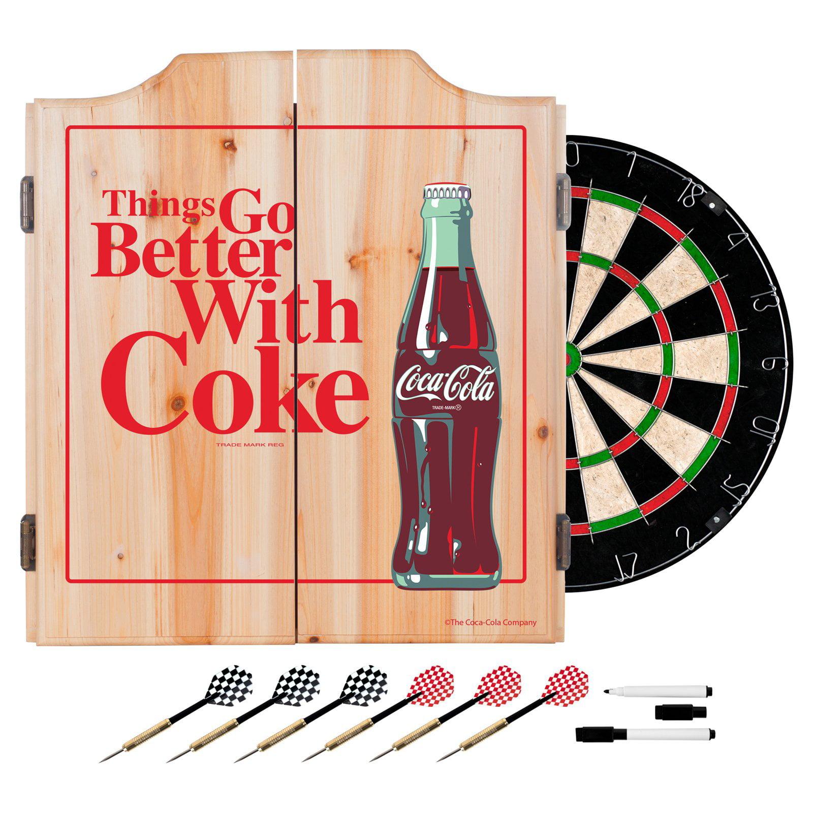 Coca Cola Dart Cabinet Set With Darts And Board Better With Coke Walmart Com Walmart Com