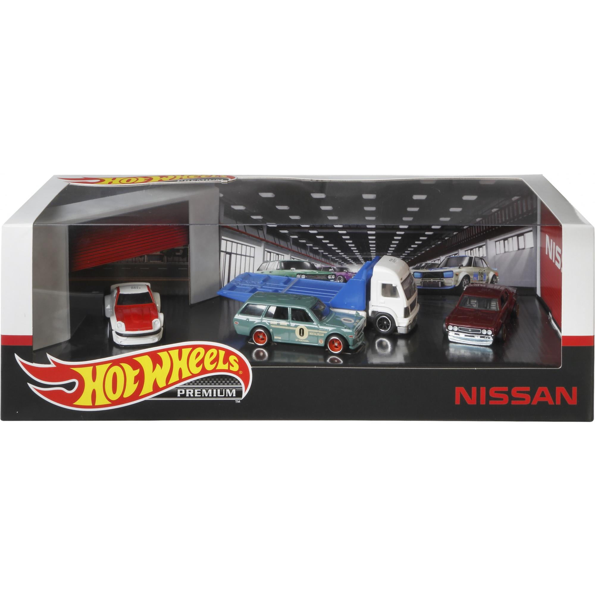 Hot Wheels Premium Collect Display Sets With 3 1:64 Scale Die-Cast Cars & 1 Team Transport Vehicle Collectors Favorites (Styles May Vary)